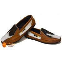 Zapatos en cuero lizo con piel